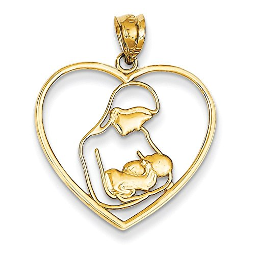 Mère et enfant - 14 Carats Pendentif en Coeur-JewelryWeb
