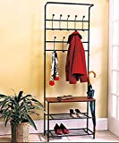 cheap coat rack - Black Oak Halltree Entryway Bench Organizer Rack Entry Benches Hall Tree Shoe Sitting Trees With Bench And Coat Racks Shoe Store Salon Living Room Indoor Outdoor Metal Wood Furniture Cheap