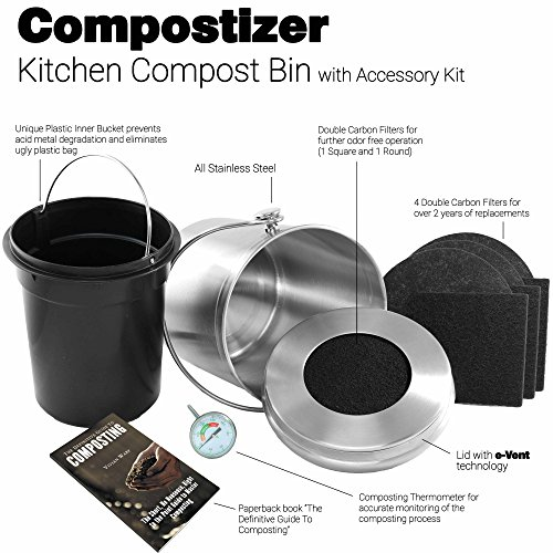 amazoncom introducing compostizer stainless steel 13 gal kitchen compost bin kit unique inner bucket special event technology double carbon filters