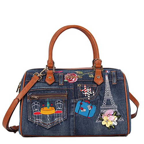 Embroidery Denim Boston Bag Paris Vintage Flair with Spacious Main Compartment and Detachable/Adjustable Shoulder Bag (Nicole Lee Purses Paris)