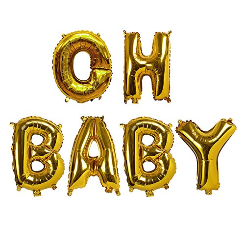 Treasures Gifted Oh Baby Shower Balloons Huge Gold Letters Announcement at Gender Reveal Helium Kit Banner 40 Inch Boho Mylar Foil Decorations for Your Little Prince and Princess