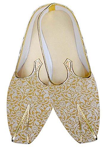 INMONARCH Mens Yellow Wedding Mojari Flower Design MJ012899 eJctZWI