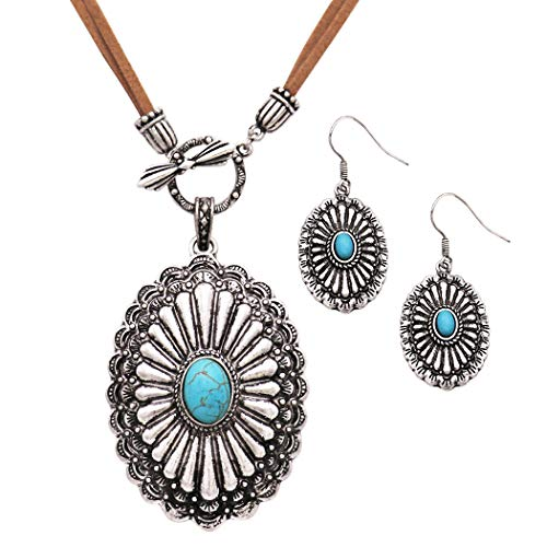 (Rosemarie Collections Women's Western Style Statement Turquoise with Front Toggle Leather Necklace Earrings Set)