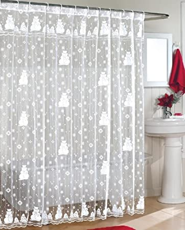 white lace shower curtain. Snowman Lace Fabric Shower Curtain 70Wx72L-WHITE White C