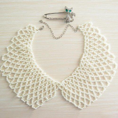 kilofly White Faux Pearl False Collar Necklace, Lili, with Rhinestone Cat Pin