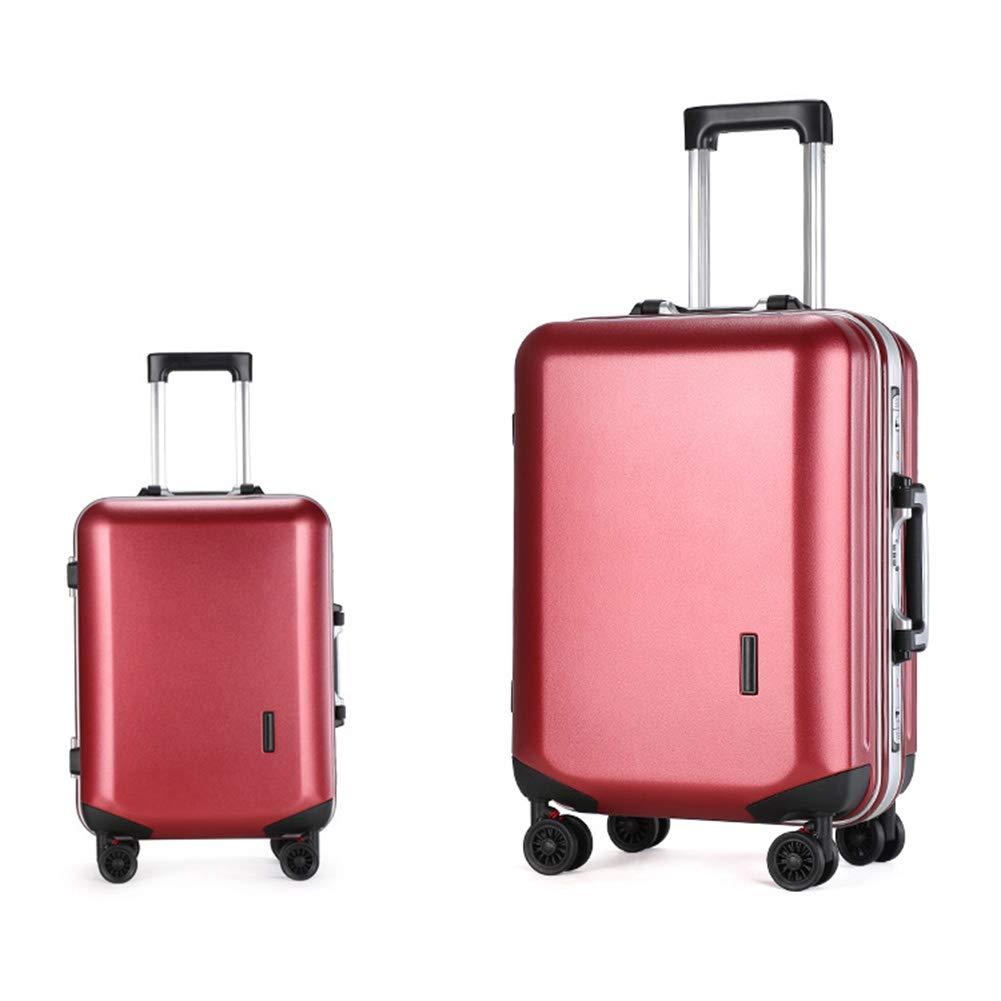 ABSハードシェル4ホイール軽量キャブインハンドキャビンスーツケース(TSA認定3桁コンビネーションロック付き、ほとんどの航空会社のキャビンサイズ(18インチ)に認定済み)  Red B07L8BR6KK