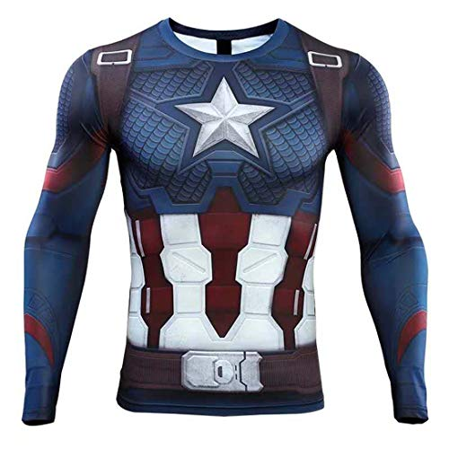HIMIC E77C Hot Movie Super Hero Quick-Drying ElasticT-Shirt Costume (X-Small,Captain 5)