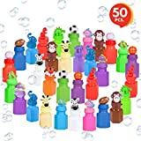 ArtCreativity Mini Bubble Bottles with Wands by (50 Pieces) | Great Bubbles Party Favors for Boys and Girls | Extra-Wide Variety Bulk Pack | Cute and Fun Bubble Blowing Wand Kit for Kids