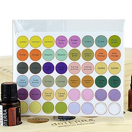 5 hojas de etiquetas para botellas de aceite esencial, botellas de cristal, pegatinas redondas