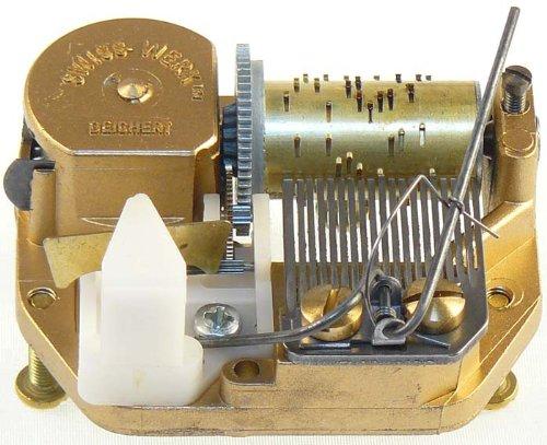 Schweizer Spieluhren-Laufwerk Spielwerk DEICHERT 18-Ton Laufwerk (aus dem Hause REUGE) /  (Spieluhr, Spieldose, Musikdose), komplett mit Einbau-Set