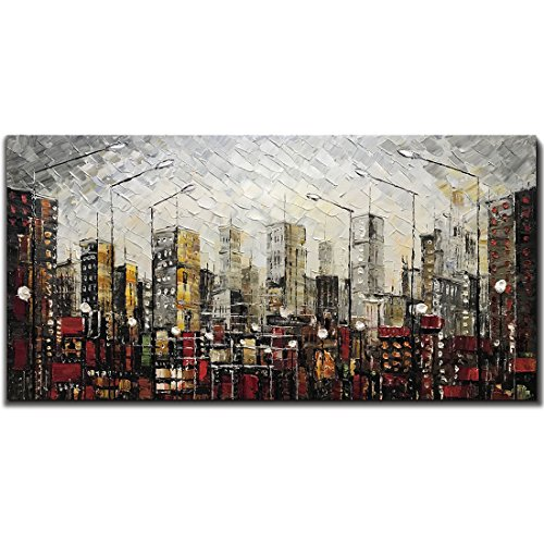 Yotree Paintings, 24x48 Inch Paintings Oil Hand Painting Urban Landscape 3D Hand-Painted On Canvas Abstract Artwork Art Wood Inside Framed Hanging Wall Decoration Abstract -
