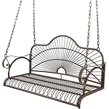 BBBuy Antique Metal Iron Porch Swing Patio Hanging Garden Swing Chair Bench  Seat With Chains For