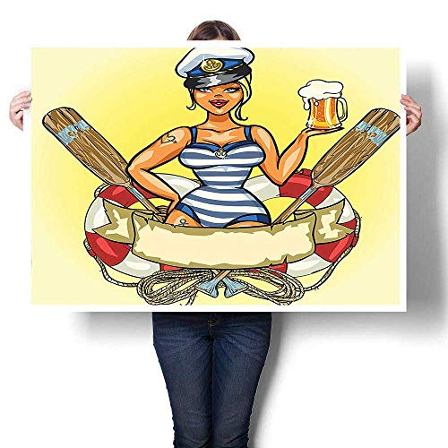 SCOCICI1588 DIY 3D Painting,Pin Up Sexy Sailor Girl in Lifebuoy with Captain Hat and Costume Glass Canvas,Home Wall Decor,24