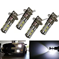 (Pack of 4) Aluminum Projector 6500K HID Xenon White 10-SMD H3 LED Replacement Bulbs For Car Fog Lights Driving Lamps