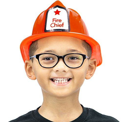 Boys Fire Chief Costume (Fireman's Helmet Kid's Halloween Costume Plastic Hat Accessory - Dress Up Theme Party Roleplay & Cosplay Headwear (Red))