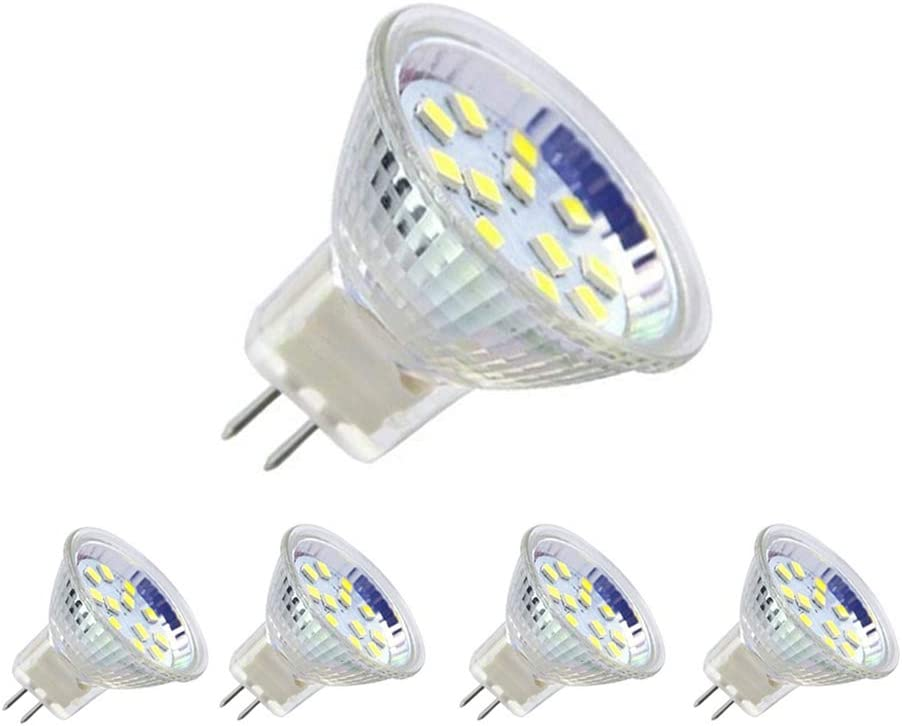 AXspeed MR11 foco de luz LED, AC/DC 12 V Bombillas de luz no regulables GU4.0 focos LED (paquete de 5), Cool White, 3-Watt