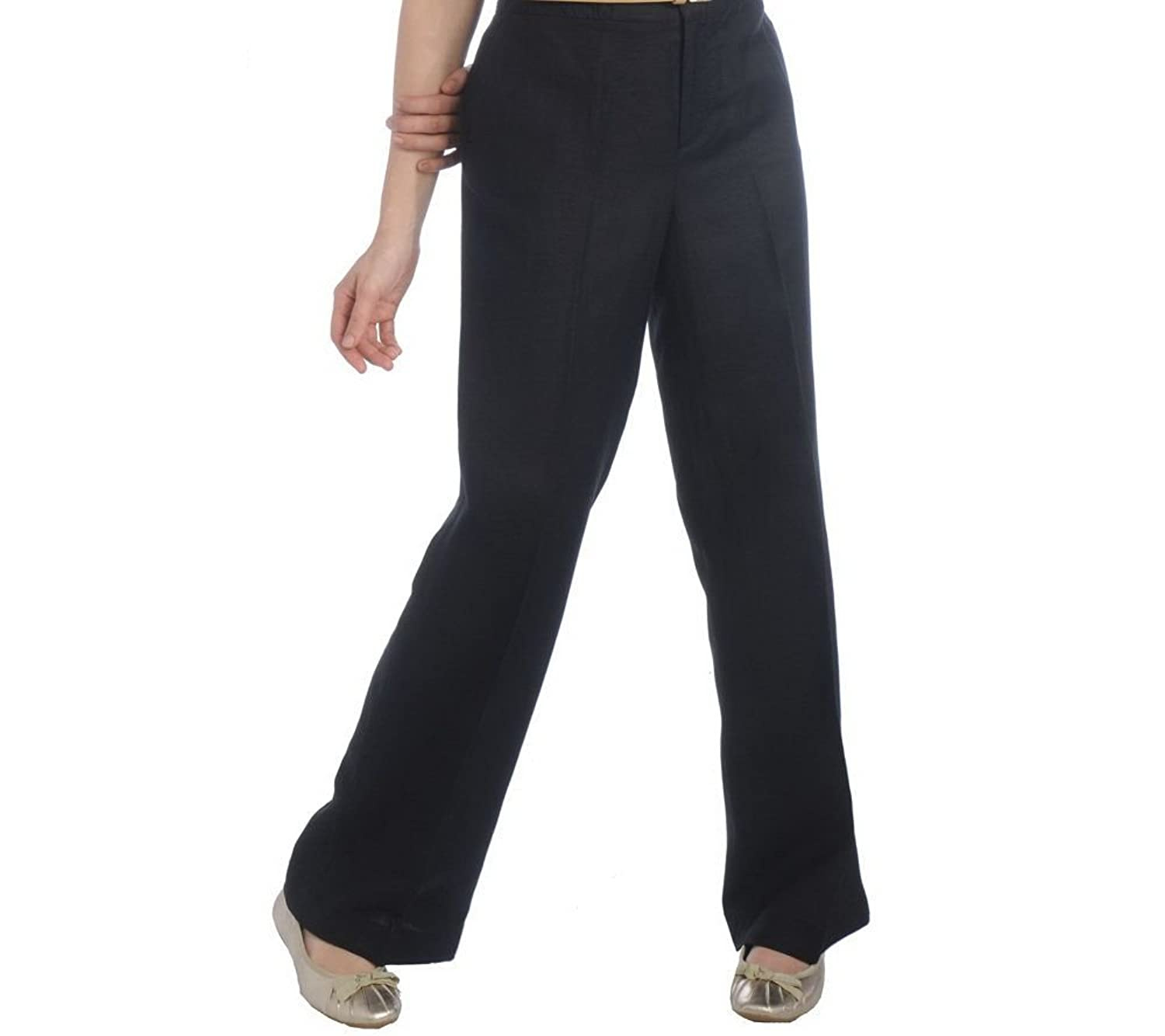 Isaac Mizrahi Live! Fly Front Wide Leg Pants with Elastic Waist