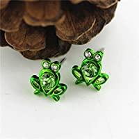 Meenanoom 1 Pair For Girls Women Crystal Rhinestones Frog Shape Stud Earrings