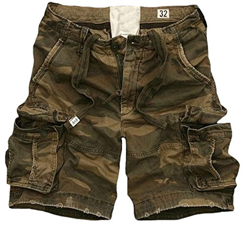 Fiream Men Summer Casual Style Cotton Multi-Pocket Cargo Shorts(Army Green,S/29)