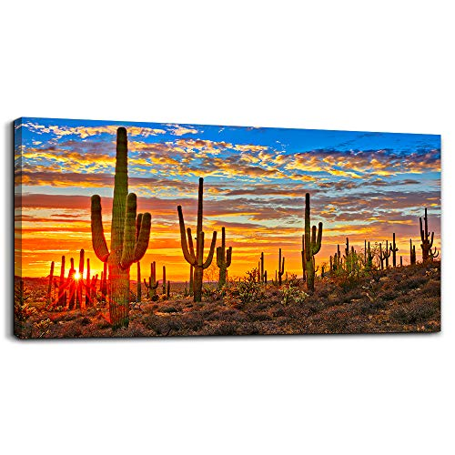 Canvas Wall Art for Living Room Cactus Plant Landscape Painting Bathroom Wall Decor Ready to Hang Home Decorations Bedroom Kitchen Inspirational Canvas Prints Posters Painting Wall Mural Artwork ()