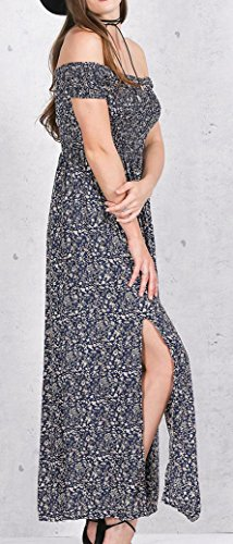 Estivi Lunghi Moda Blu Donna Alla Manica Hippie Senza Spalline Boho Casual Corta Ragazza Vestito Waist Elegante High Abbigliamento Chic Spacco Da Stampa Fiore Mare Vestiti Vintage gqdEnwg4