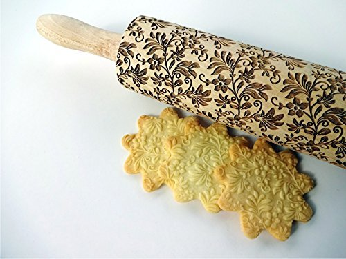 Embossing rolling pin FLORAL WREATH. Wooden embossing rolling pin with flowers. Floral pattern