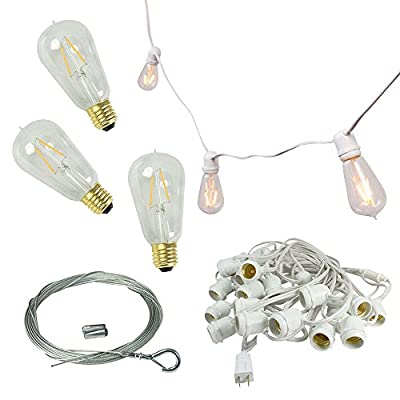 54 foot Commercial Grade White Wire Globe String Light with 24 ST18 Vintage Glass Bulbs with Dimmable LED Filaments, Warm White Lights, and 60 foot Guide Wire