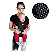 The Breezy Wrap | Quick-dry cotton mesh baby-carrier | cool, breezy, sweat-free adventures | Mars&Stars baby (Black)