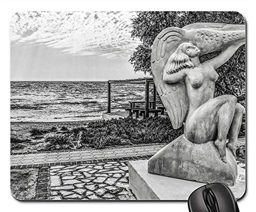 Mouse Pads - Woman Goose Sculpture Beach Scenery Art Ayia Napa