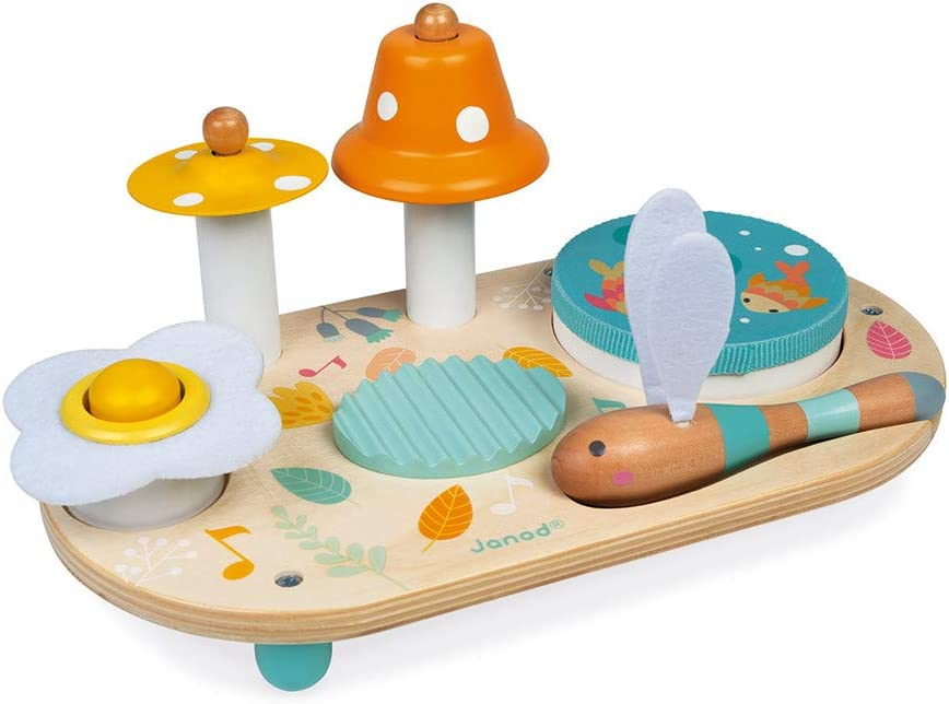 Encourages Musical Stimulation Classic Early Learning Toy for Toddlers and Preschoolers Wooden Musical Instrument Set Ages 1+ Years Janod Musical Table Develops Fine Motor Skills