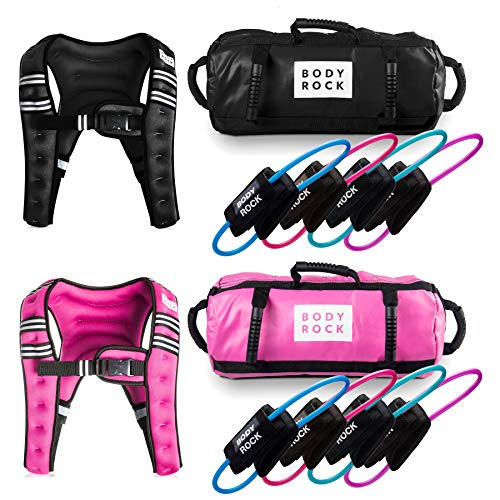 SWEATFLIX His and Her Resistance Bands & Home Workout Equipment: BodyRock Total Body Fitness Exercise Equipment- Home Gym Training Kit Includes Resistance Bands Set, Sandbag, Weighted Vest (Black)