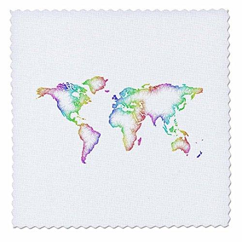 3dRose David Zydd - Map Designs - Rainbow World Map - 6x6 inch quilt ...