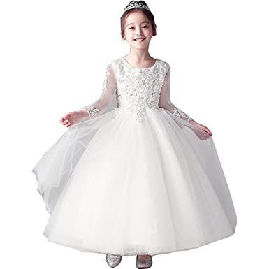 114bf8585b Amazon.com  Tifus Dress Flower Girl Dresses for Party Long Sleeve First  Communion Dresses White Lace Floor Length Dresses  Clothing