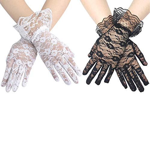 CSPRING 2PCS Short Elegant Ladies Lace Gloves Wrist Length Sexy Gloves for Wedding Dinner Parties ()