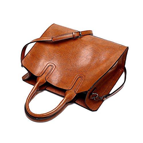 Messenger Huile Joie Marron Pour À Femme couleur Imperméable Fashion Simple Bag Marron Ywx Rétro Bandoulière De L'eau Sac Cuir zq5RTfx8w