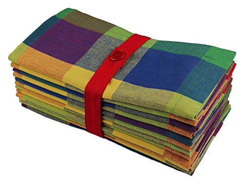 Cotton Craft - Tahoe Big Checks Multi Color Dinner Napkins - 12 Pack - 100% Cotton - Tailored with Mitered Corners ()