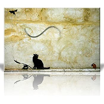 Amazon.com: Wall26 - Canvas Prints Wall Art - Black and White Cat on ...