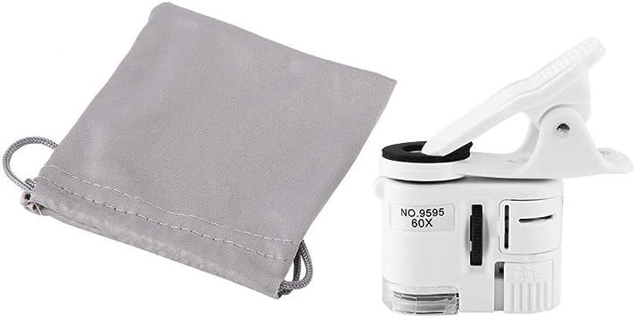 Pbzydu Microscopio con Clip para teléfono, Lupa 60X LED con luz UV ...