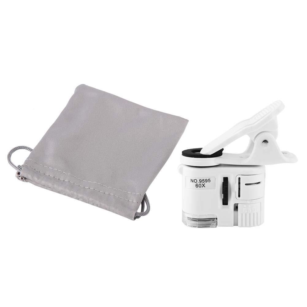 Pbzydu Microscopio con Clip para tel/éfono Lupa 60X LED con luz UV Mini Lupa con Clip para tel/éfono m/óvil con Bolsa de Almacenamiento