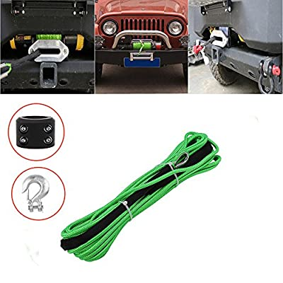 "Synthetic Winch Rope 50'x1/4"" Snap Hook and Rubber Stopper Strong Durable Dyneema Cable Green Winch Rope 7800lbs with Sheath for atvs Winches ATV UTV SUV Truck Boat Ramsey Car Motorcycle Samlighting"
