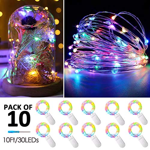 10 Pack Fairy Lights Battery Operated String Lights with 30 Micro LEDs on 10feet/3m Silver Copper Wire Starry String Light for DIY Party Christmas Costume Wedding Easter Table Decorations(4 -