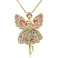 Starshiny Daughter Necklace Multicolor Crystal Ballerina Dancer Opal Wings Angel Pendant Necklace Children's Day Gift
