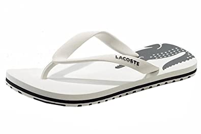 cd20ded0a61e9b Lacoste Boy s Nosara Jaw Fashion Flip Flops White Dark Grey Sandals Sz  3