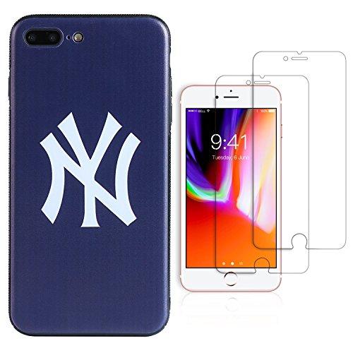 "Sportula MLB Phone Case matching 2 Premium Screen Protectors Extra Value Set - for iPhone 7 Plus/iPhone 8 Plus (5.5"") (New York Yankees) (York Iphone New)"