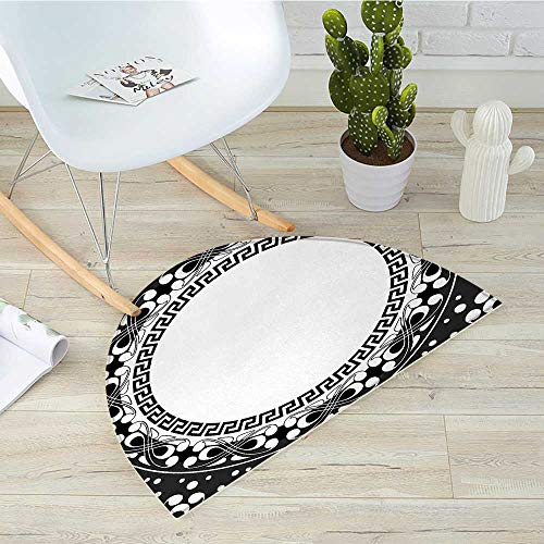 Key Collection Chain Starfish - Greek Key Half Round Door mats Black and White Pattern of Spirals Swirls and Chains with Circle and Little Dots Bathroom Mat H 31.5