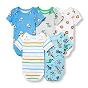 The Children's Place Baby Boys 5 Pack Short Sleeve Bodysuit Bundle, White, 0-3MONTHS