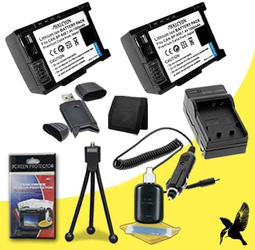 Two Halcyon 2000 mAH Lithium Ion Replacement BP511 Battery and Charger Kit SDHC Card USB Reader Deluxe Starter Kit for Canon PowerShot G2 4MP Digital SLR Camera and Canon BP-511 Memory Card Wallet