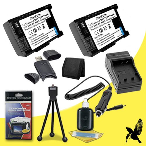 Two Halcyon 2000 mAH Lithium Ion Replacement BP511 Battery and Charger Kit + Memory Card Wallet + SDHC Card USB Reader + Deluxe Starter Kit for Canon EOS 10D, 20D, 30D, 300D, 40D, 50D, 5D + Canon Powershot G1, G2, G3, G5, G6, PRO1 Digital SLR Cameras and