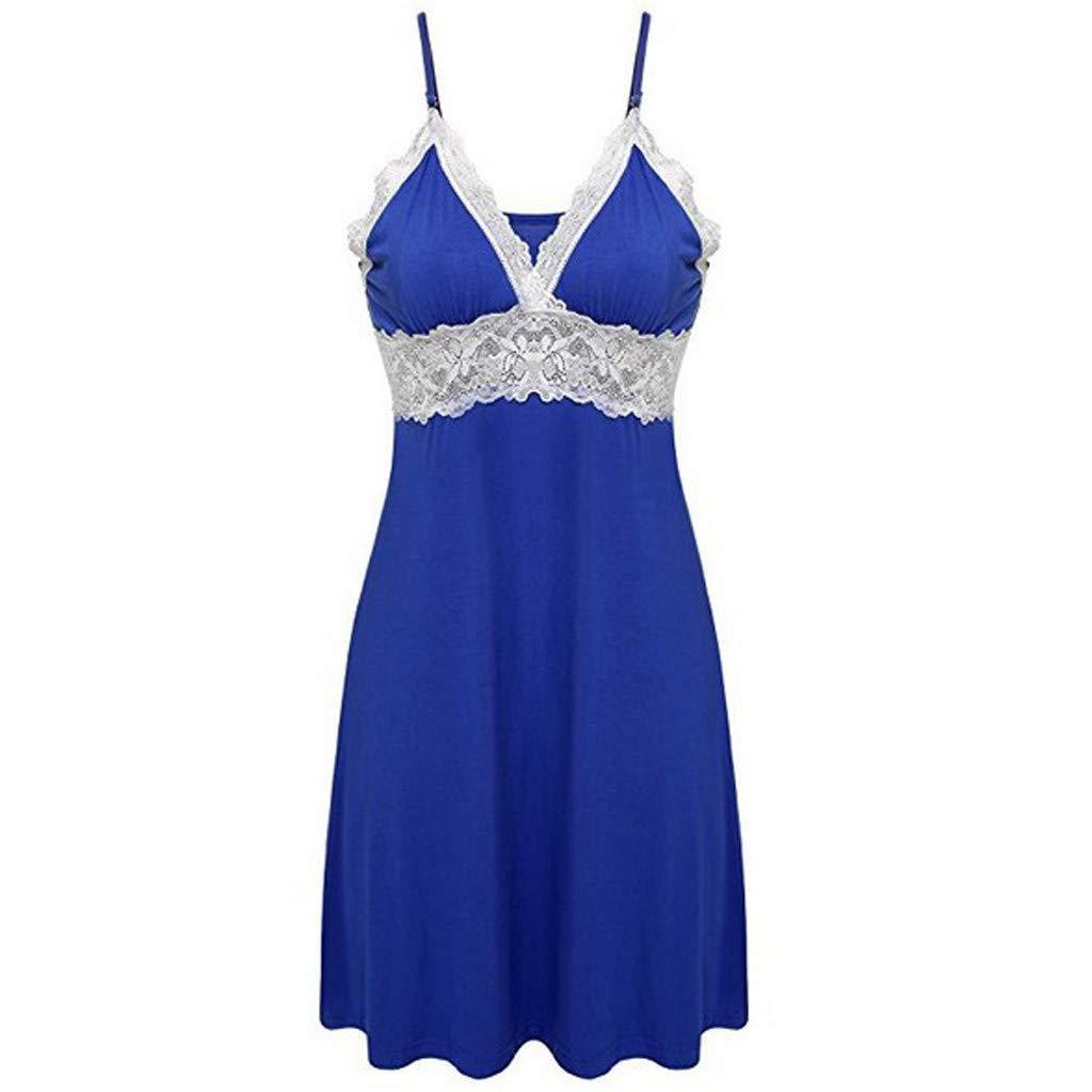 Women Lingerie V Neck Nightwear Sexy Lingerie Satin Sleepwear Lace Babydoll Mini Teddy Lace Chemise Wome Dress (M, Blue)