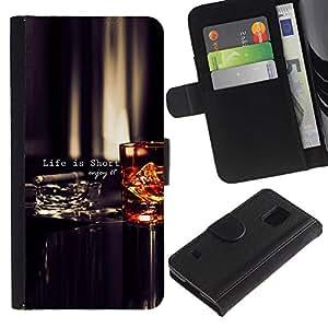 Paccase / Billetera de Cuero Caso del tirón Titular de la tarjeta Carcasa Funda para - Life Is Short Quote Enjoy Motivational - Samsung Galaxy S5 V SM-G900
